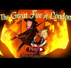 The start screen of the Great Fire of London game.