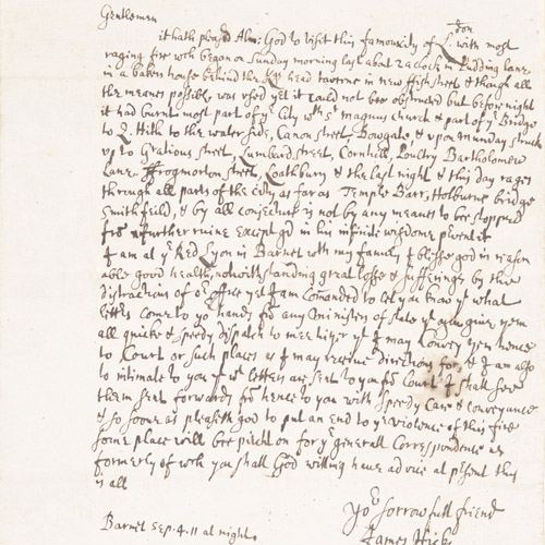 Letter from James Hicks, 4 September 1666