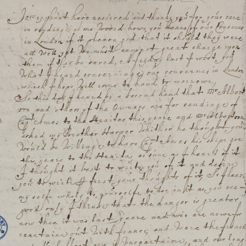 Letter from a merchant referring to the fire