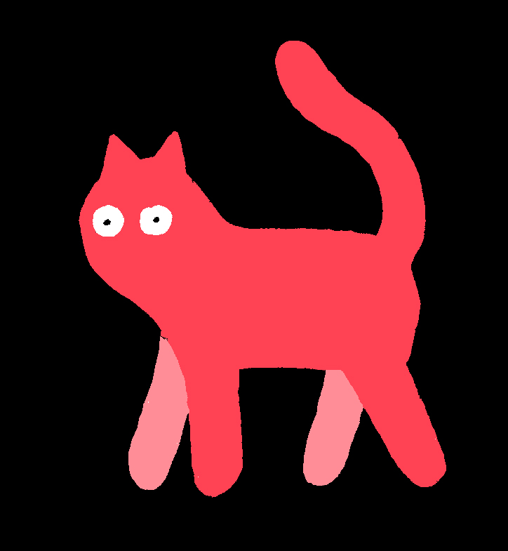 Illustration of a red cat with white eyes.