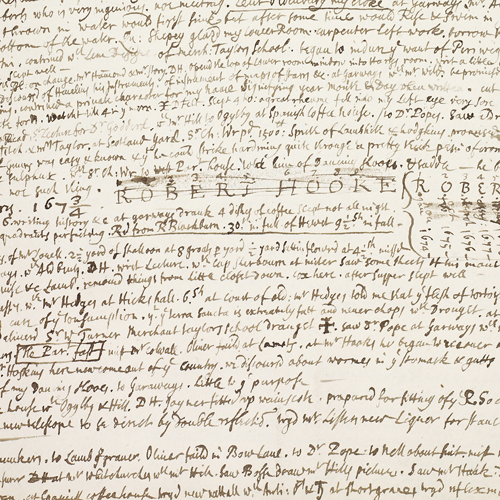 Selection of pages from Robert Hooke's diary