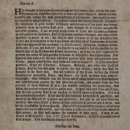 Printed royal proclamation, 1666
