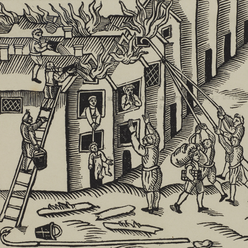 A 17th-century fire being extinguished