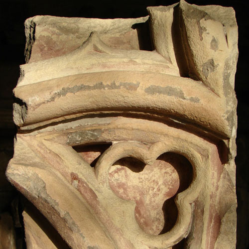 Fragment of painted tracery from inside the medieval St Paul's Cathedral