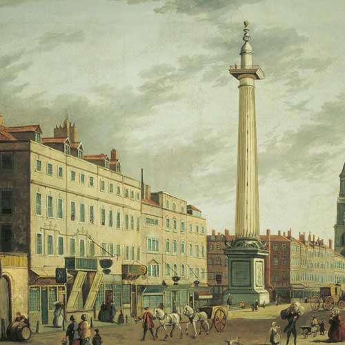 Painting: 'The Monument from Gracechurch Street'