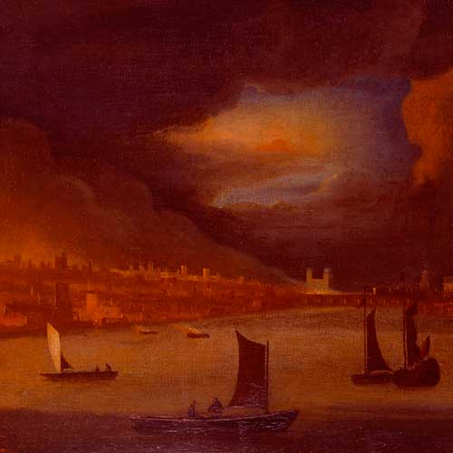 Painting: 'The Great Fire of London, 1666' by an unknown artist after Waggoner