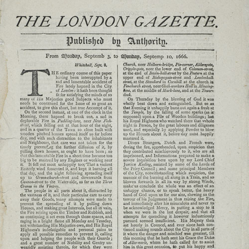 The London Gazette newspaper, 3-10 September 1666